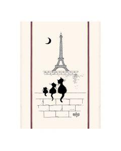 Torchon Chats Tour Eiffel de Dubout Torchons & Bouchons
